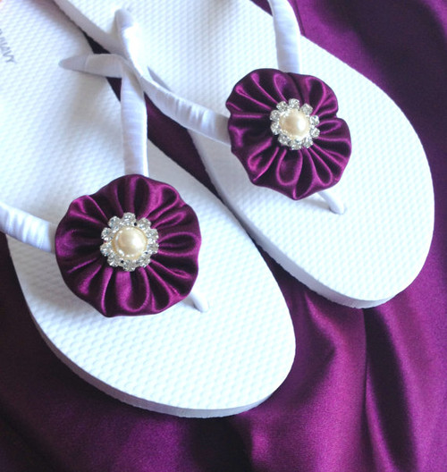 Plum Purple Wedding Flip Flops / Bridal Flip Flops