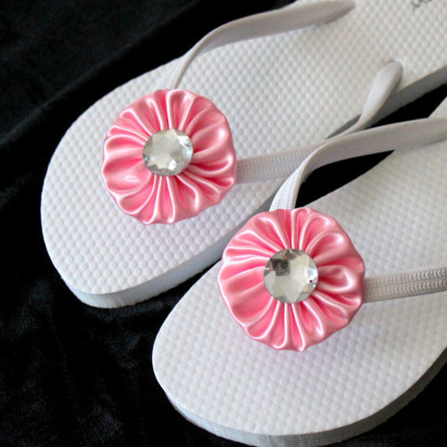 Baby Pink Flip Flops for Bride to Be, Bridesmaid, Flower Girl, Wedding parties