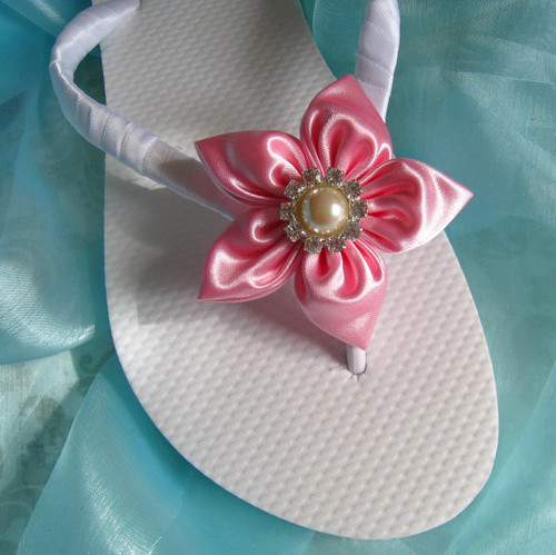 Wedding Flip Flops / Bridal Flip Flops - Pink Satin Flowers