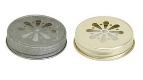 70/450 Daisy Mason Jar Lid - Pewter or Gold - Regular Mouth