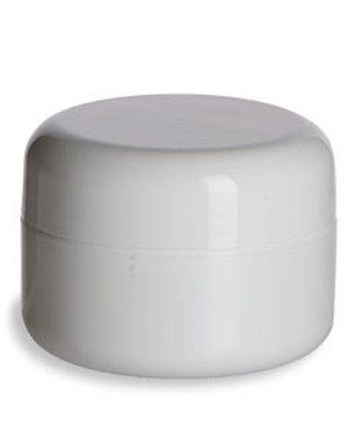 1/2 oz White Double Wall Plastic Jar with White Dome Shape Lid