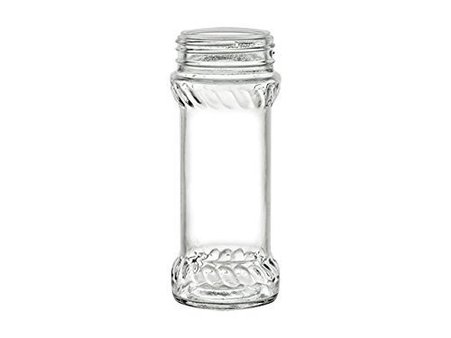 6.4 oz Glass Spice Jars with Shaker Fitment and Black Caps