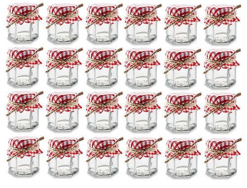 Set of 24 - 1.5 oz Hexagon Glass Jars with Red and White Gingham Fabric Covers and Twine