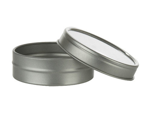 1 oz Low Profile Tin Container with Clear, Slip-on Top