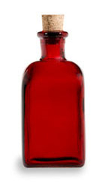 8 oz Red Recycled Boston Glass Bottle with Cork Stopper