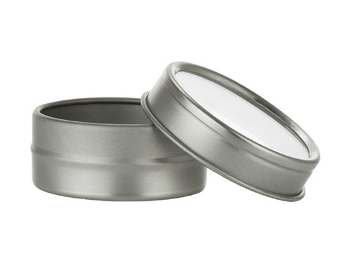 Nakpunar 1/2 oz clear top round tin with fraction fit slip on lid