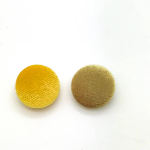 "Lot of 10, 5/8"" (15 mm)  Shades of Yellow Velvet Button"