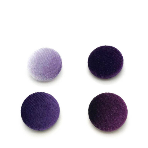 "Lot of 10, 5/8"" (15 mm)  Shades of Purple Velvet Button"