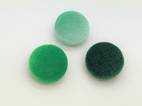 "Lot of 10, 5/8"" (15 mm)  Shades of Green Velvet Button"