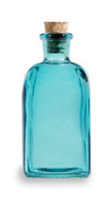 8 oz Aqua Blue Recycled Boston Glass Bottle with Cork Stopper