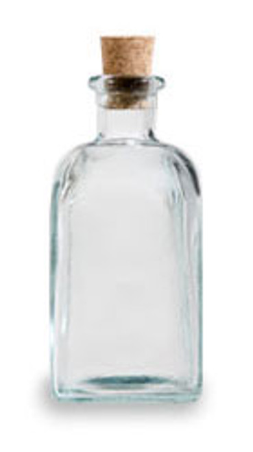 8 oz Clear Recycled Boston Glass Bottle with Cork Stopper
