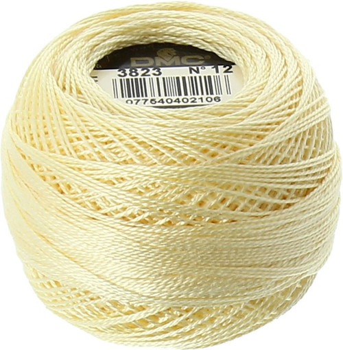DMC  Perle Cotton Thread Ball | Size 12 | 3823 U Pale Yellow
