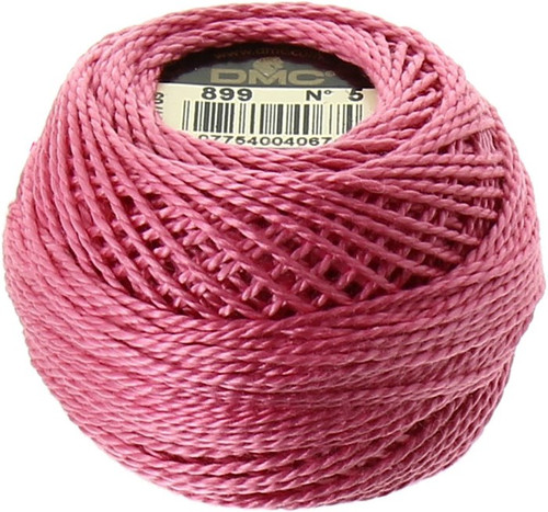 DMC #5 Perle, Perle Cotton Thread Ball | 899 Medium Rose Pink (116 5-899)