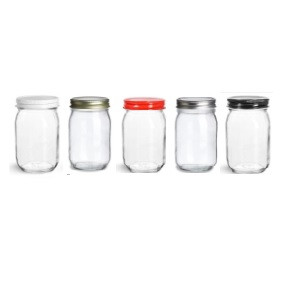 16 oz mason with different color of lid - 16 Oz Glass