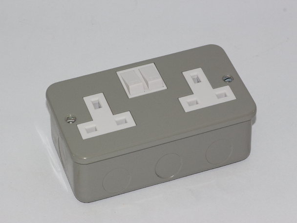 Schneider Electric 2 Gang, Switched 13A Metal Clad Surface UK Power Socket