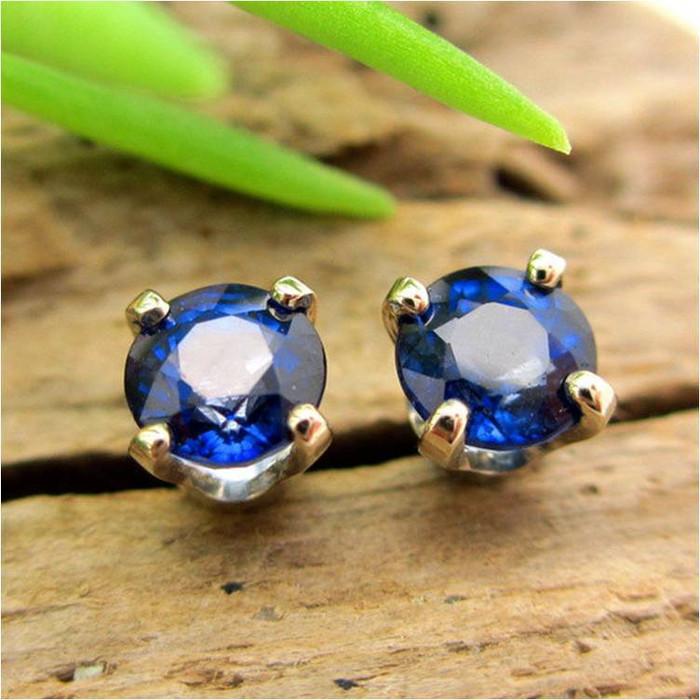 Blue Sapphire Stud Earrings | Enhanced