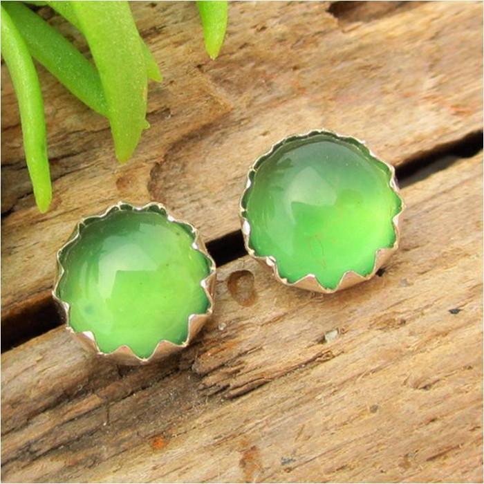 Green Chalcedony Cabochon Stud Earrings