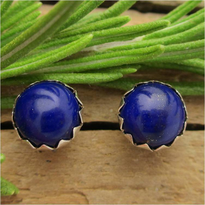 Lapis Cabochon Stud Earrings