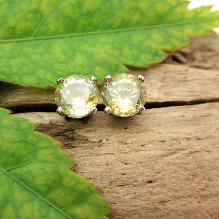 Montana Sapphire Stud Earrings, Light Green and Yellow, Limited Edition