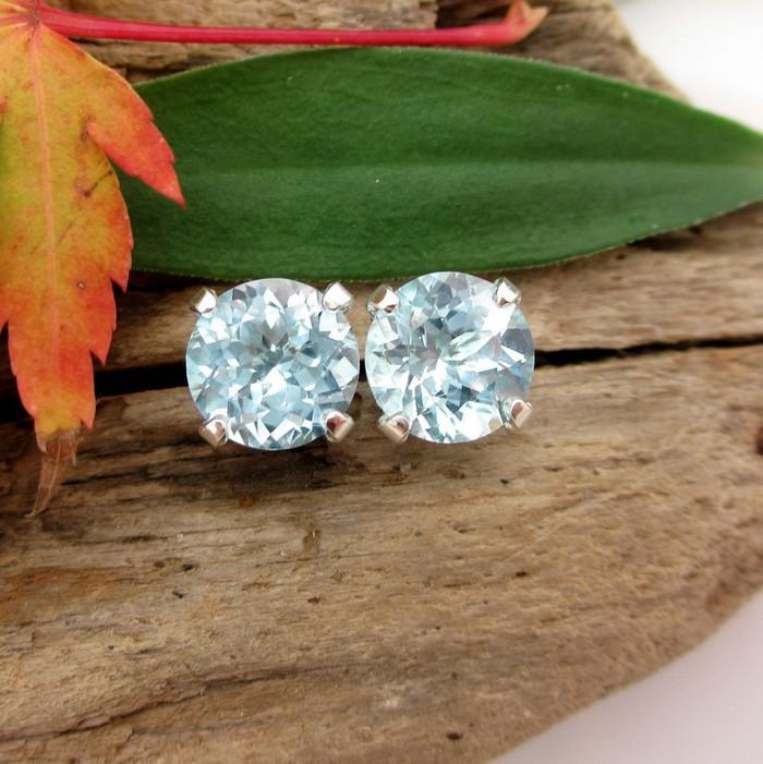 Sky Blue Topaz Stud Earrings | Natural Untreated
