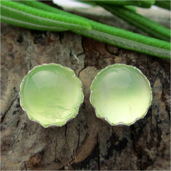 Prehnite Cabochon Stud Earrings