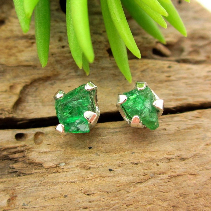 Raw Tsavorite Garnet Stud Earrings in Silver, Medium 5mm