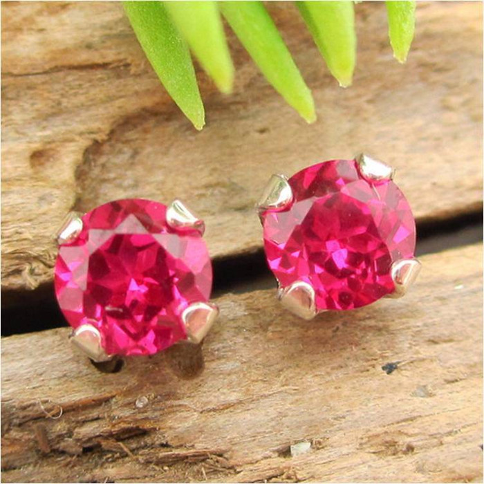 Ruby Stud Earrings | Lab Grown