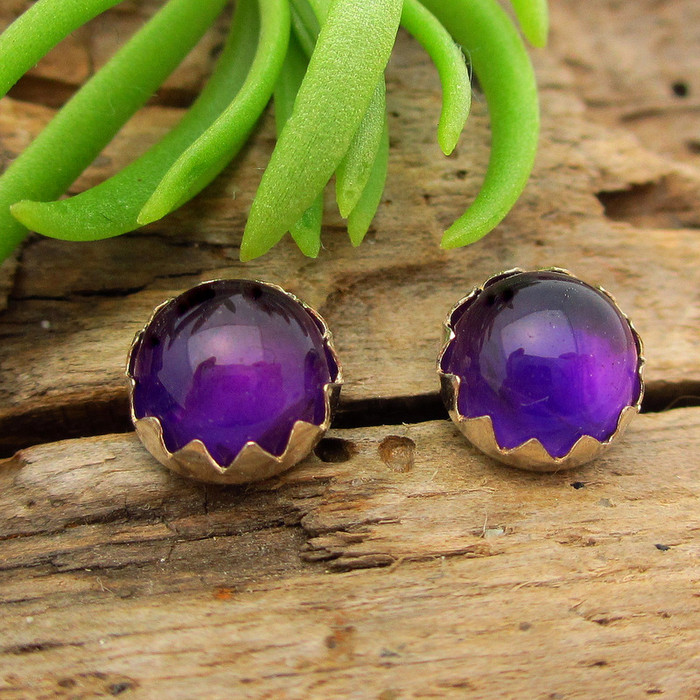 Amethyst cabochon stud earrings, deep purple