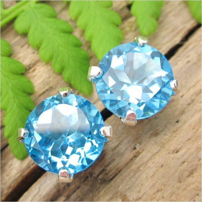 Swiss Blue Topaz Stud Earrings