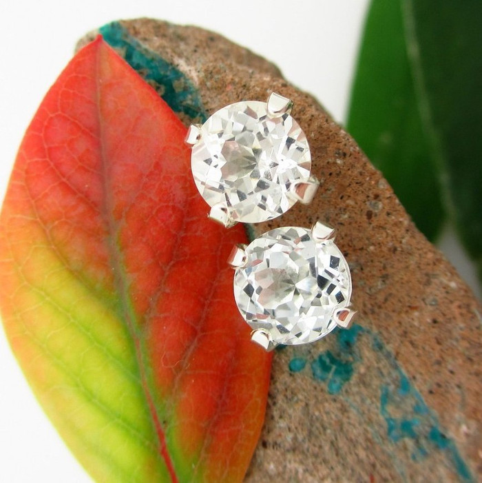 White Topaz Stud Earrings
