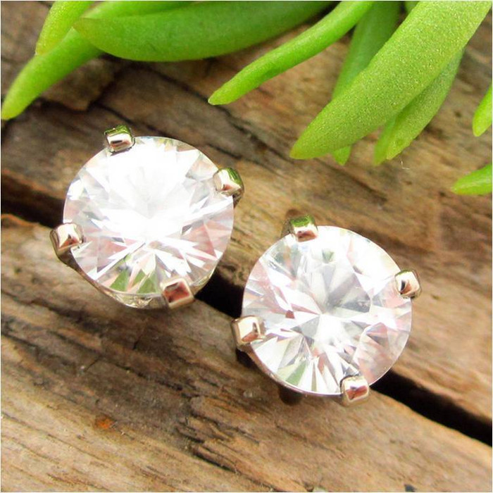 White Zircon Stud Earrings, Limited Edition