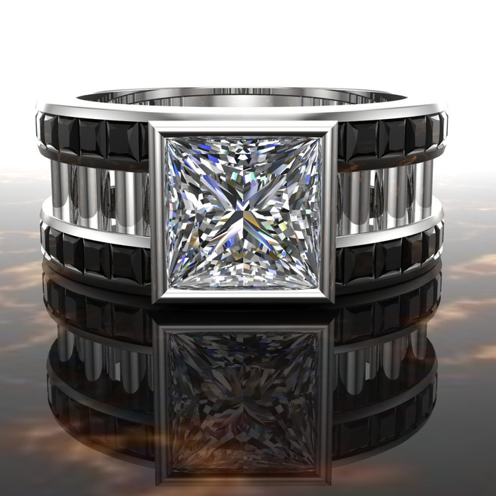 White Collar, Black Tie Men's Engagement Ring | 2 Ct Square Diamond