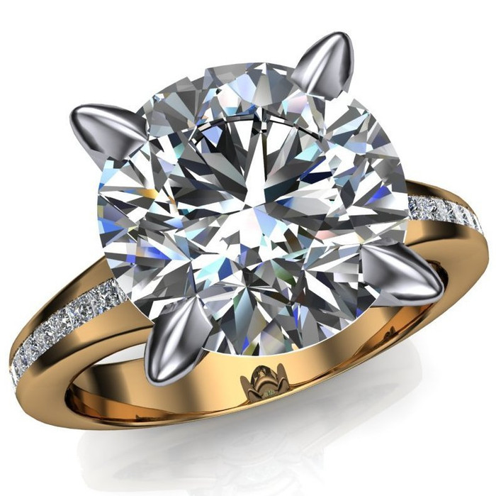 Two Tone Claw Prong Engagement Ring   Round 4 Ct Diamond