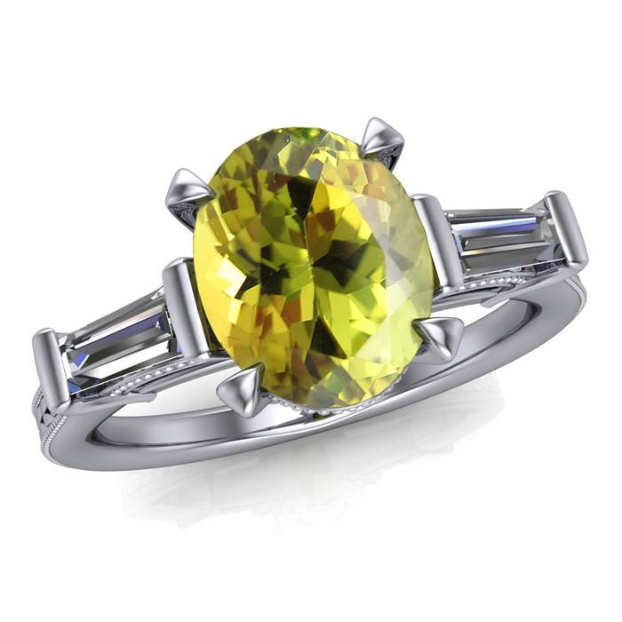 Gemstone Ring   Oval 1.5+ Carat Chartreuse Tourmaline