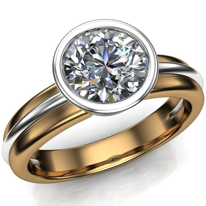 Diamond Engagement Ring, 1 Carat Bezel Set Diamond in Two-Tone Gold Band overhead view