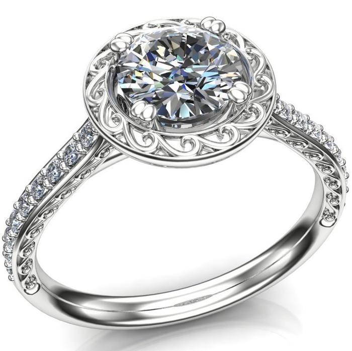Halo Swirl Engagement Ring   Round .80 Carat Diamond