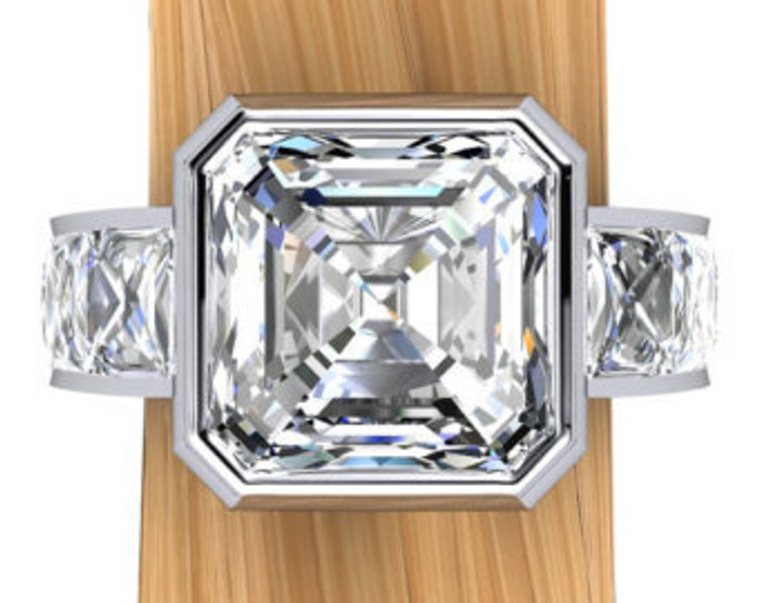 Unbroken Bling Men's Ring | Asscher 3ct Diamond, 5ct Total