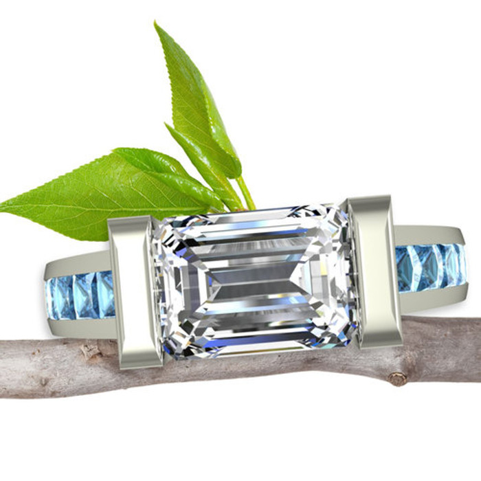 Blue Diamond Engagement Ring | Emerald Cut 1+ ct Diamond