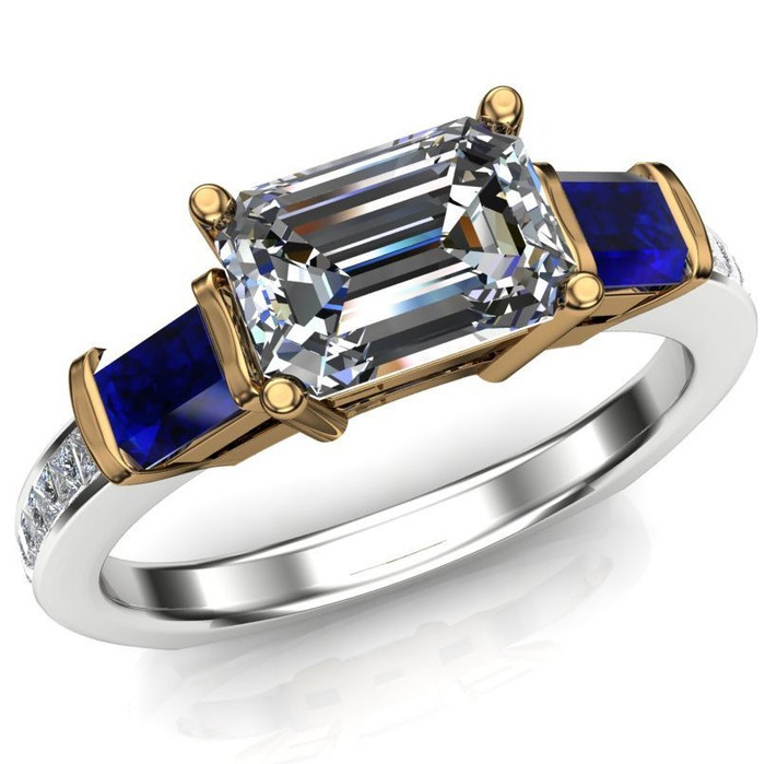 Royal Colors Engagement Ring | 1ct Diamond & Blue Sapphires