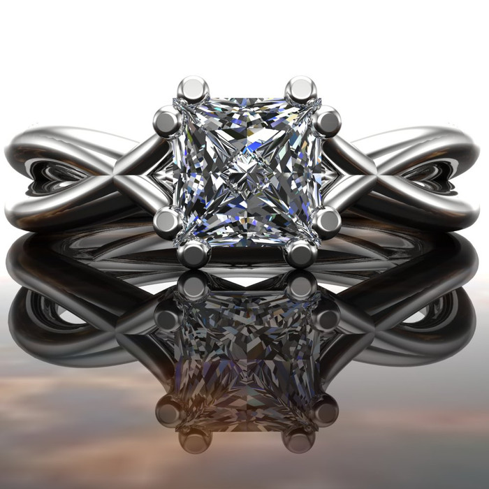 Nakia | Split Band Engagement Ring | Princess 1/2ct Diamond