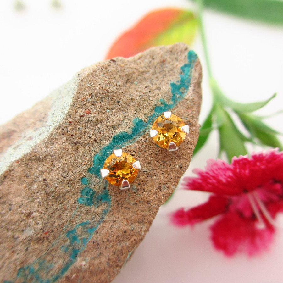 Citrine Stud Earrings | Golden Yellow