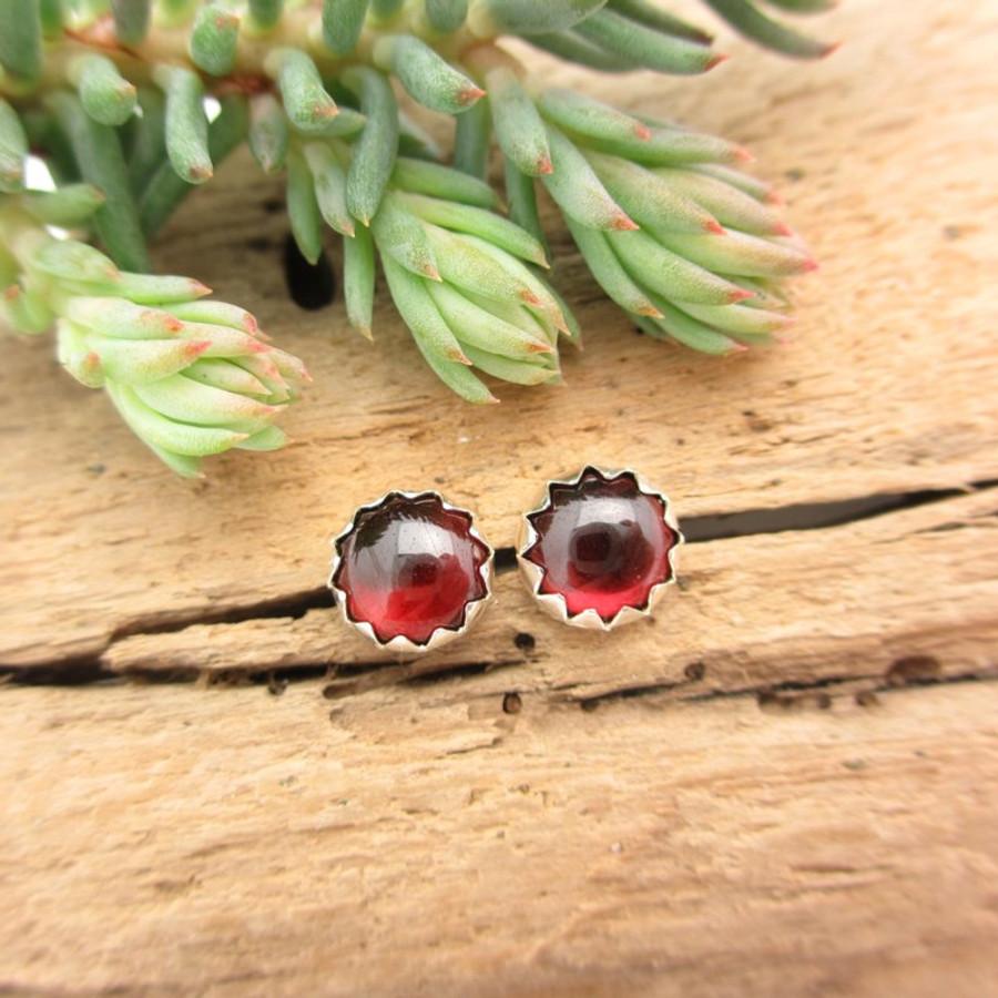 Burgundy garnet cabochon stud earrings
