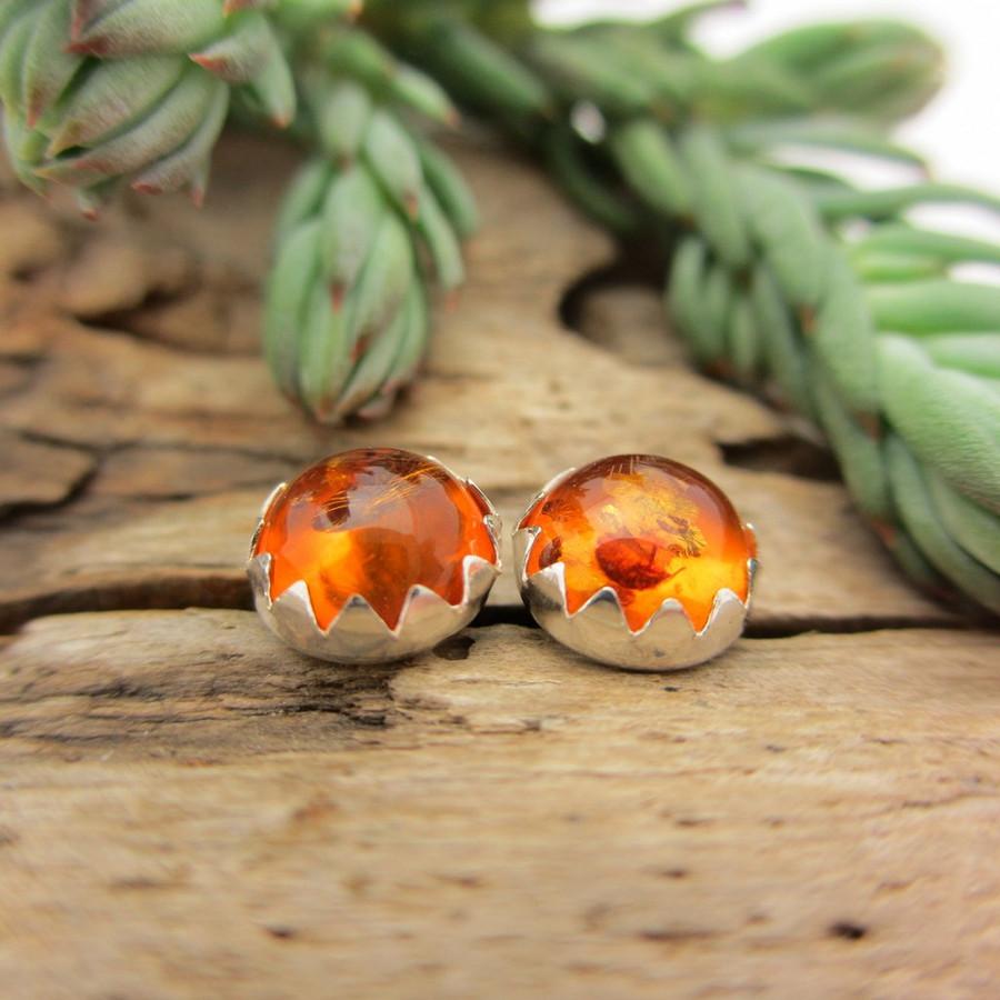 Amber cabochon stud earrings