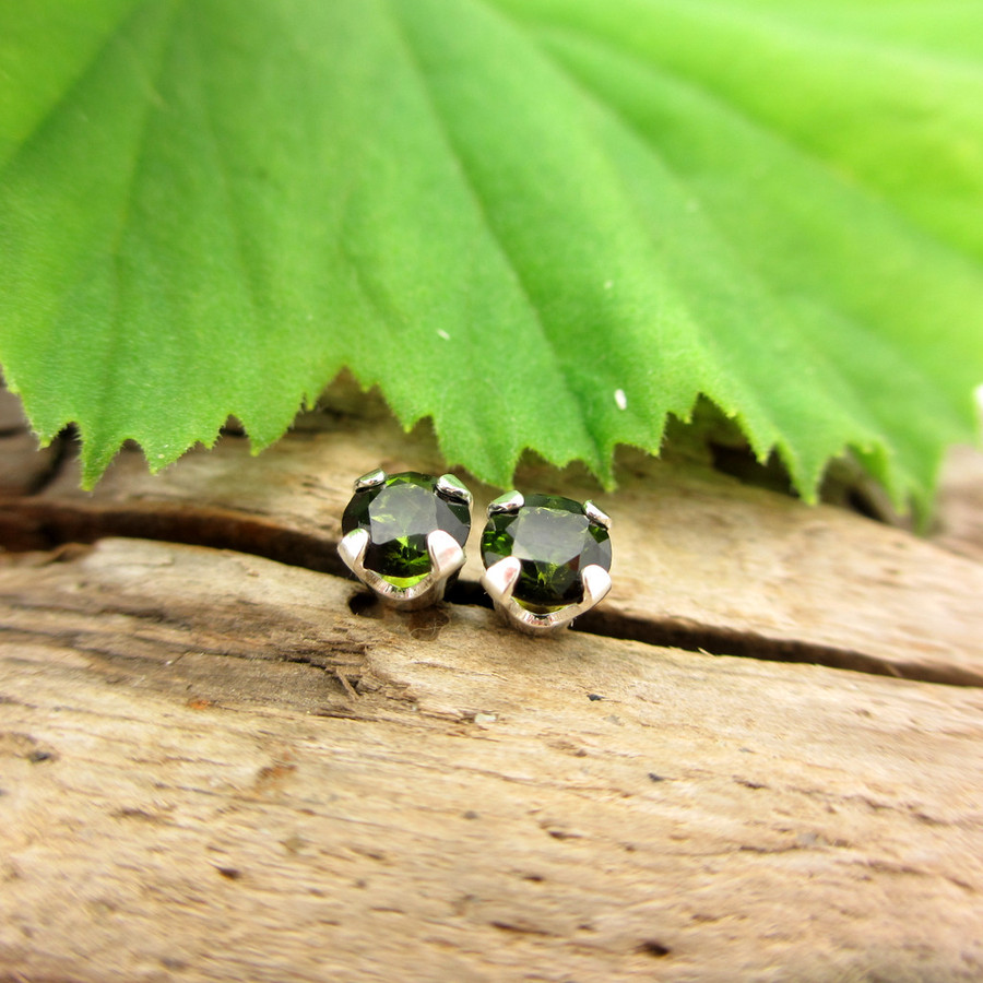 Black Green Tourmaline Stud Earrings