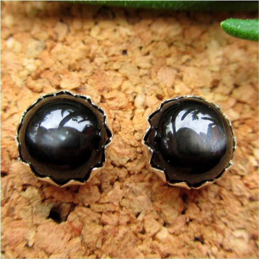 Black Star Diopside Cabochon Stud Earrings