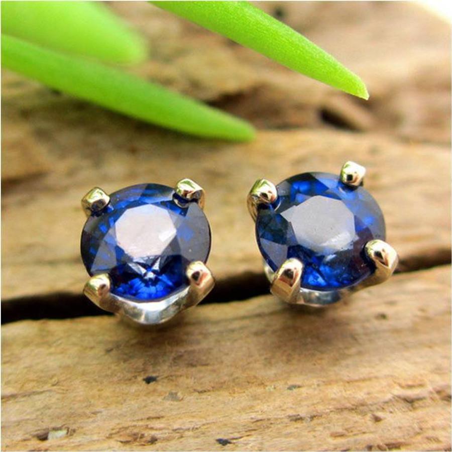 Blue Sapphire Stud Earrings   Enhanced