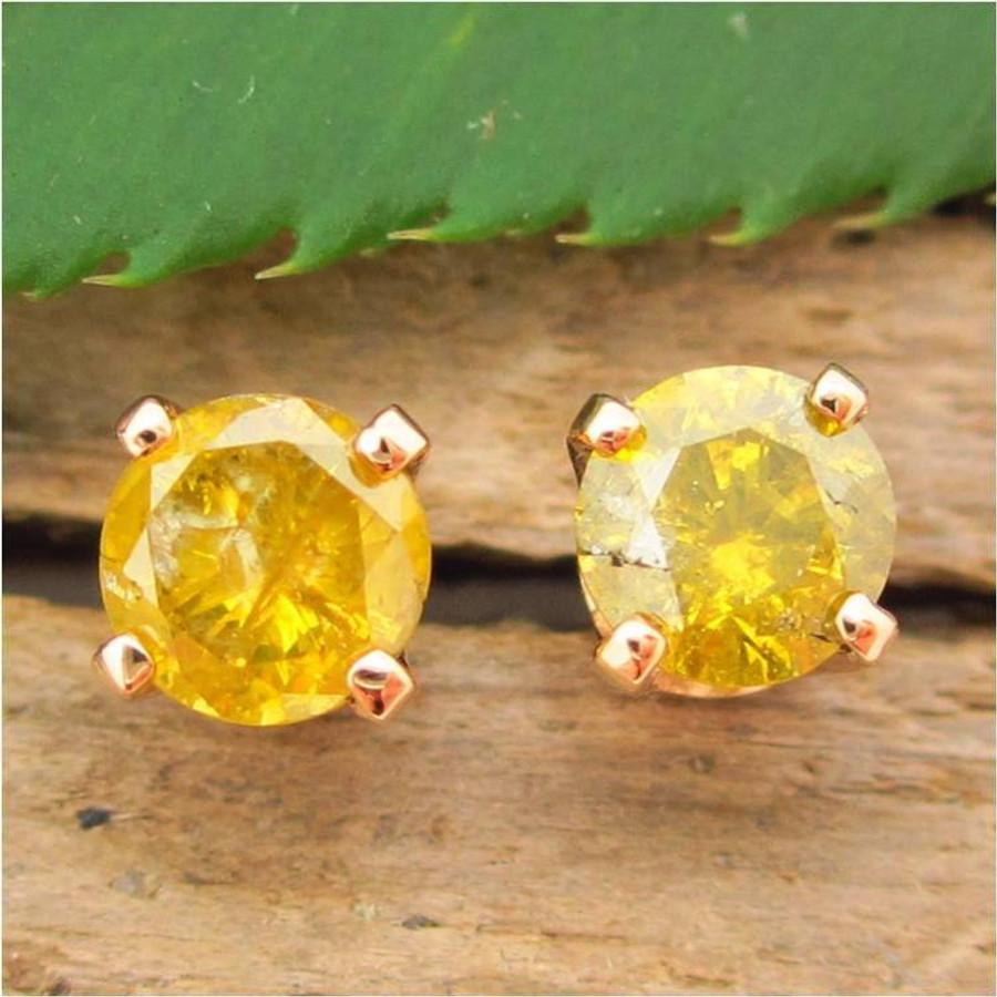 Greenish Yellow Diamond Stud Earrings, Small 4.1mm, , Limited Edition