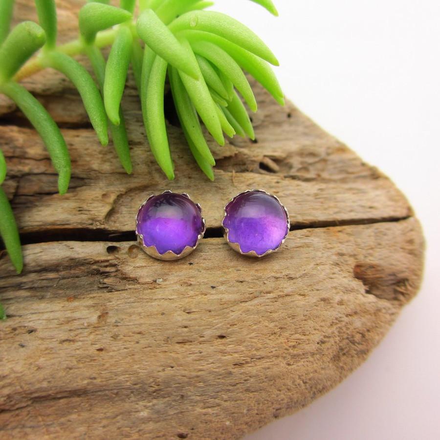 Amethyst cabochon stud earrings, Light Brazilian