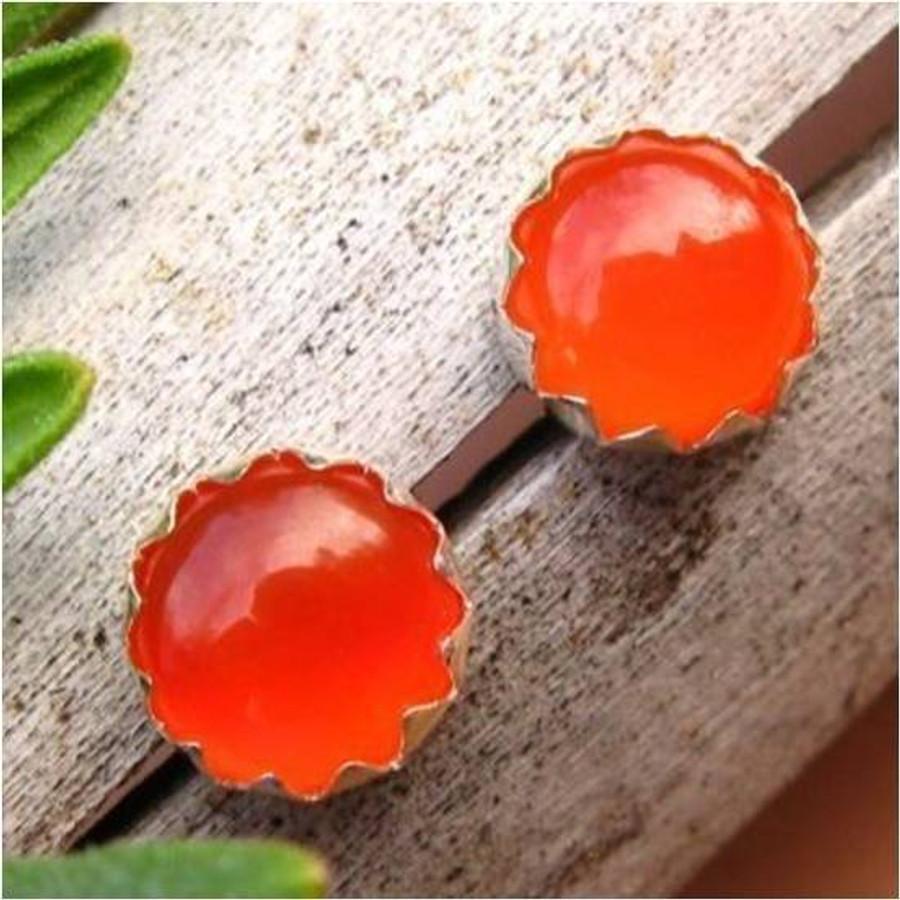 Orange Carnelian Cabochon Stud Earrings