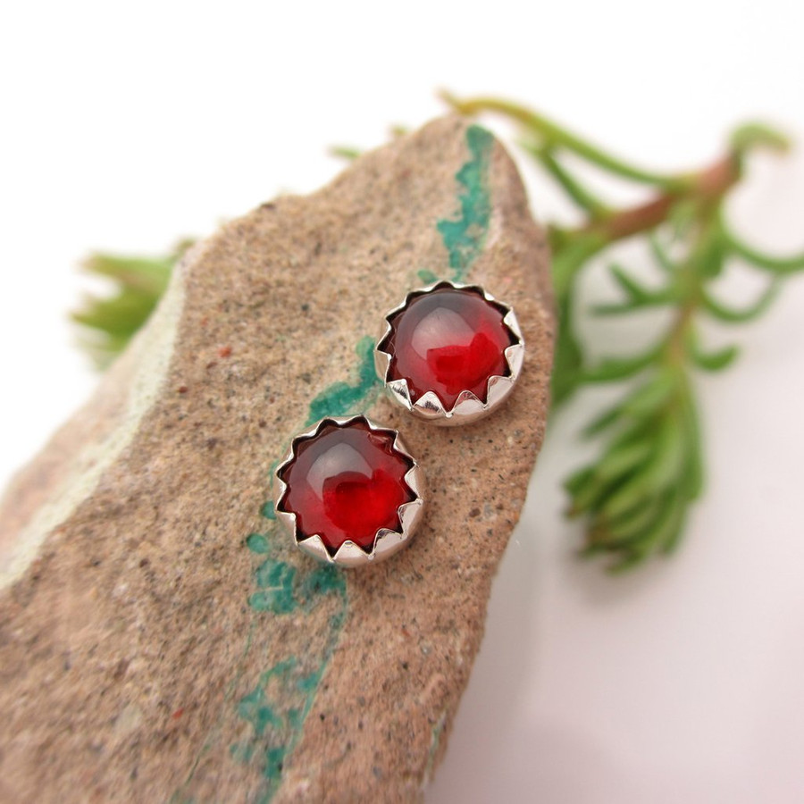 Red Garnet Cabochon Stud Earrings | Orissa